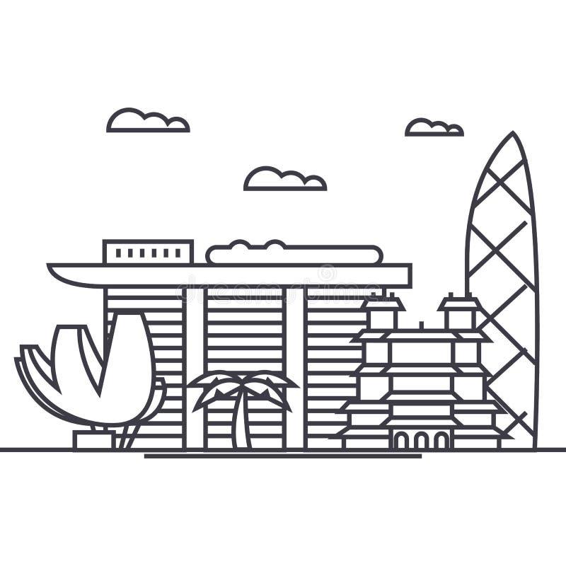 Vector de lijnpictogram van Singapore, teken, illustratie op achtergrond, editable slagen royalty-vrije illustratie