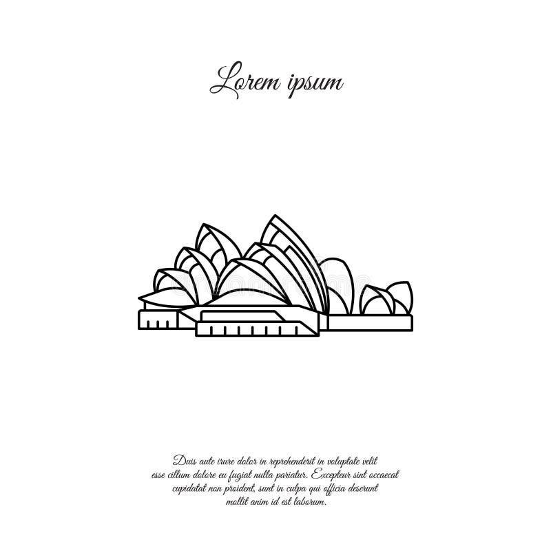 Vector de lijnpictogram van Sydney Opera House, teken vector illustratie