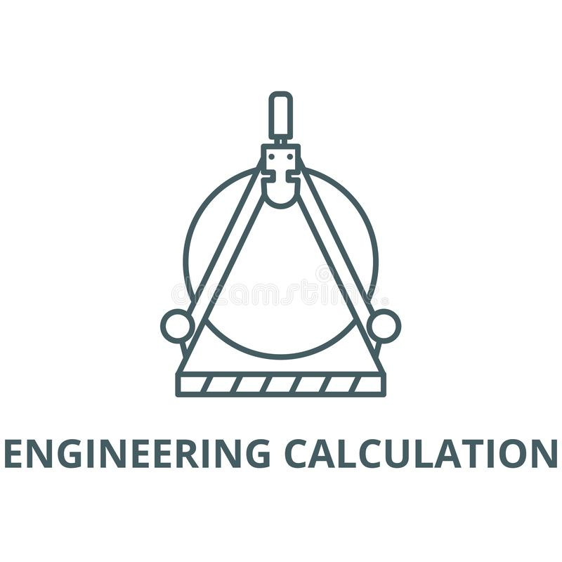 Vector de lijnpictogram van de techniekberekening, lineair concept, overzichtsteken, symbool vector illustratie