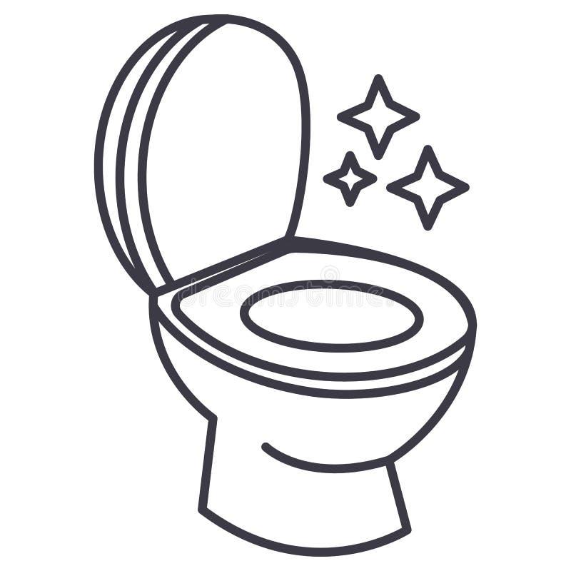 Vector de lijnpictogram van de toilet schoon, schoonmakend dienst, teken, illustratie op achtergrond, editable slagen stock illustratie