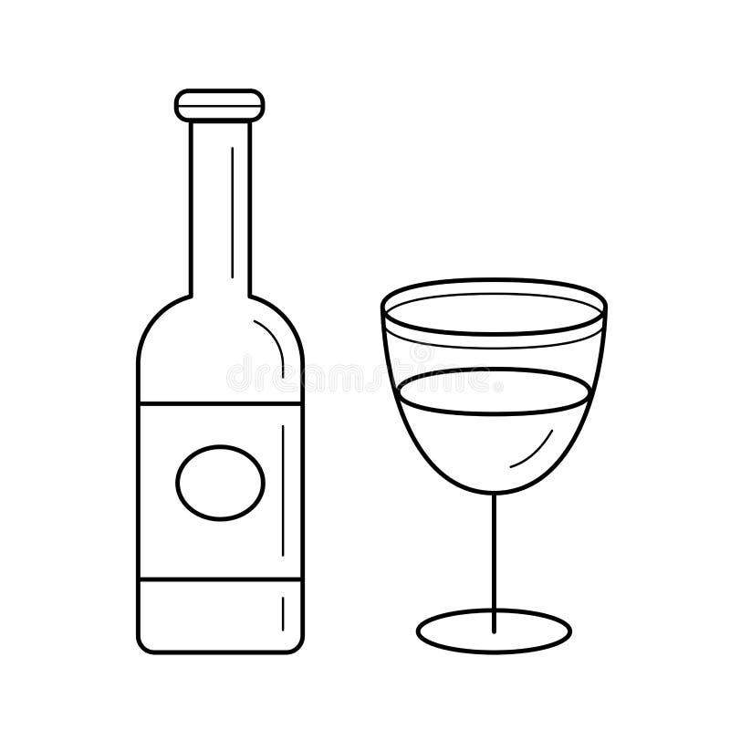 Vector de lijnpictogram van de wijnfles royalty-vrije illustratie