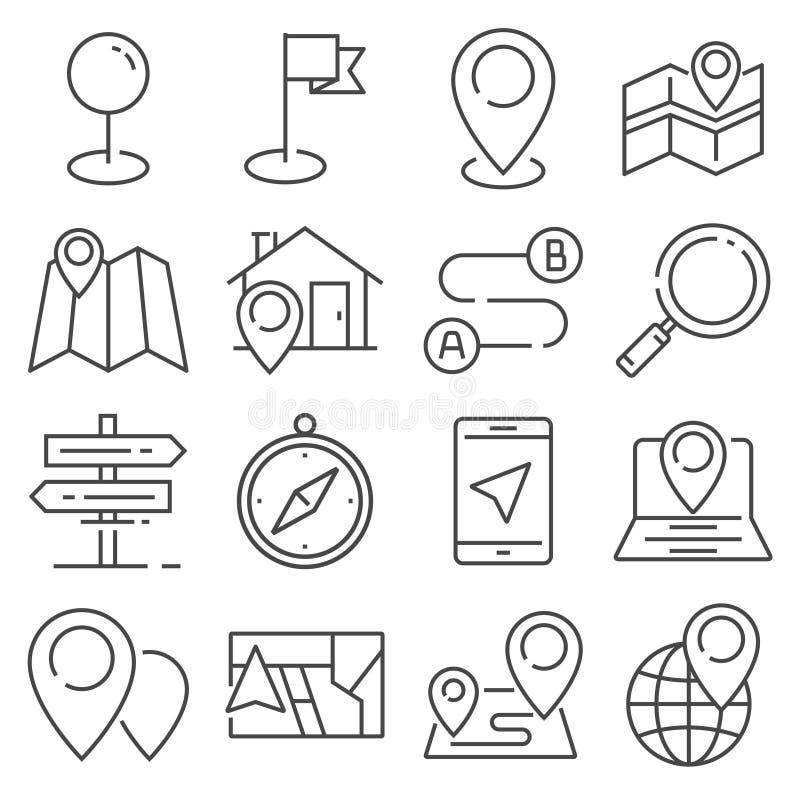 Vector de lijnpictogrammen van Gray Navigation en van de Kaart royalty-vrije stock fotografie