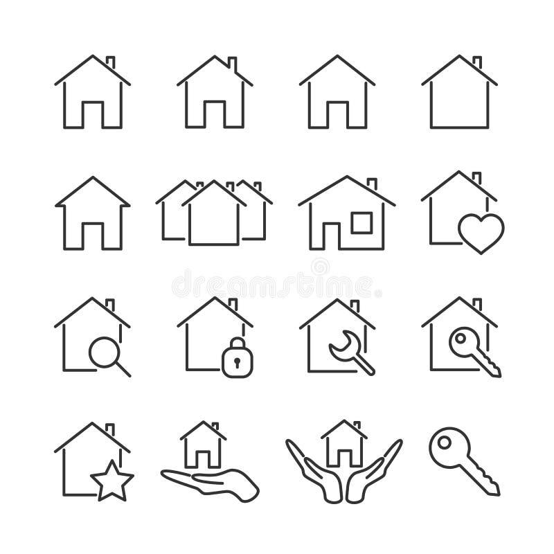 Vector de lijnpictogrammen van het beeld vastgestelde huis stock fotografie