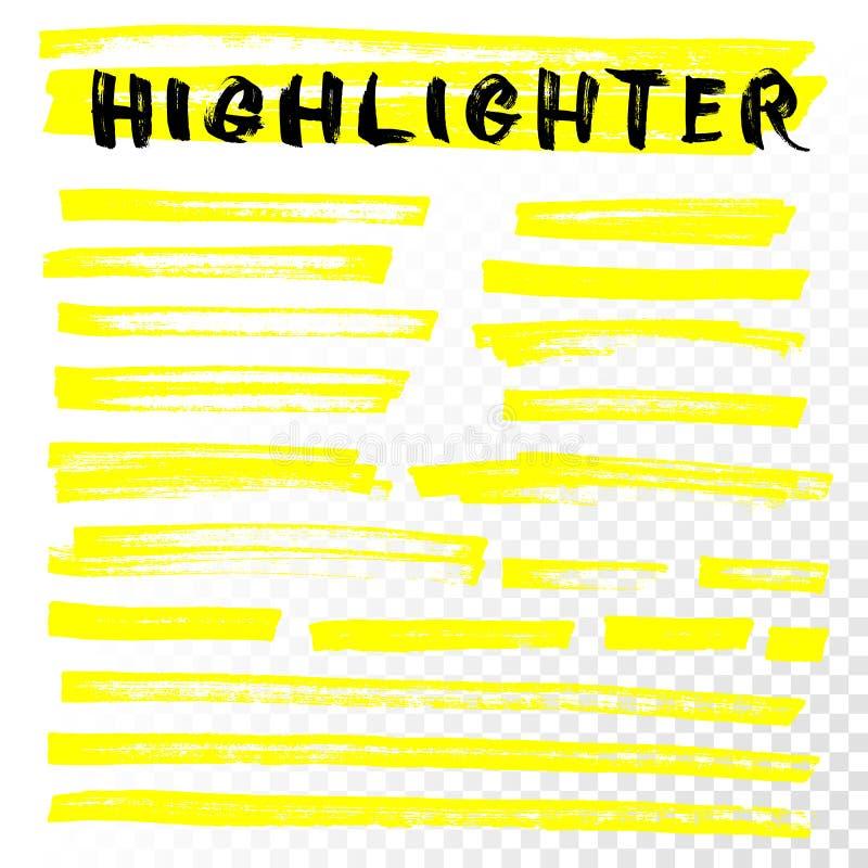 Vector de lijnslagen van de highlighterborstel royalty-vrije illustratie