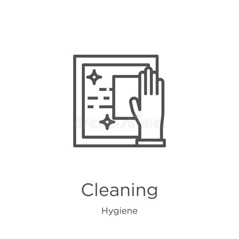 vector de limpieza del icono de la colección de la higiene Línea fina ejemplo de limpieza del vector del icono del esquema Esquem libre illustration