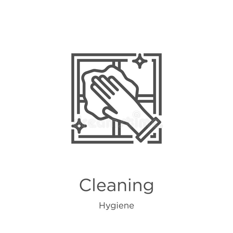 vector de limpieza del icono de la colecci?n de la higiene L?nea fina ejemplo de limpieza del vector del icono del esquema Esquem stock de ilustración