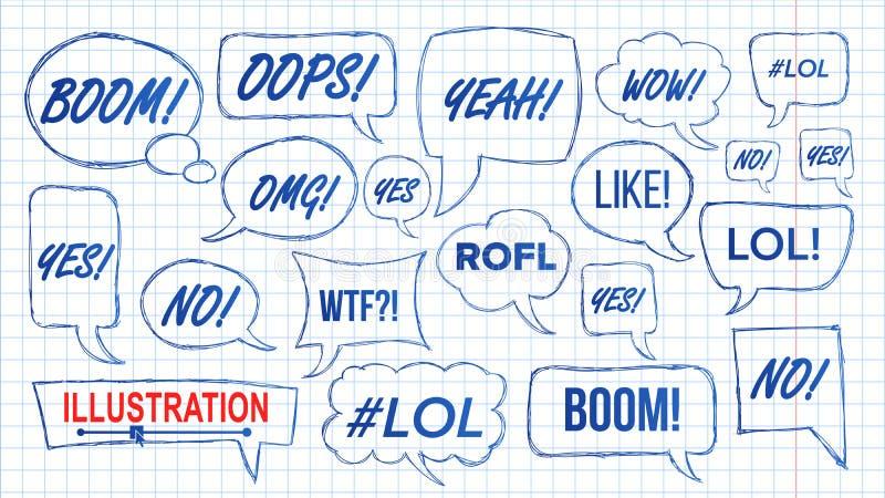 Vector de Lol Speech Bubbles Skech Set Símbolo de la diversión emoción Expresión facial Las expresiones dan Lol Stickers exhausto ilustración del vector