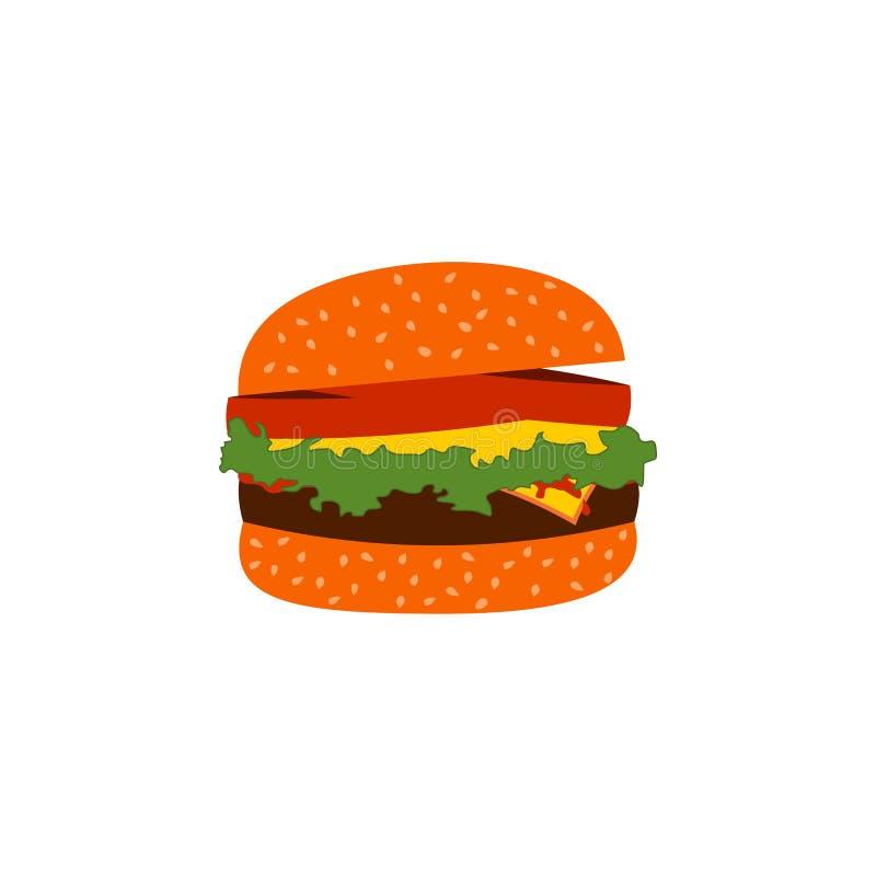 Vector de los alimentos de preparaci?n r?pida de la hamburguesa ilustración del vector