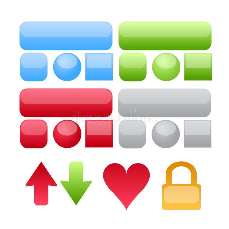 Vector de los botones y de los iconos del Web ilustración del vector