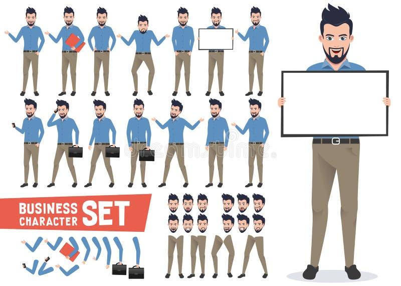 Vector de los caracteres del negocio fijado con el hombre de negocios profesional libre illustration