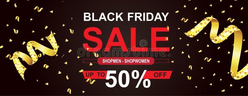 Vector de los carteles de la venta de Black Friday Bandera negra de la venta de viernes, ejemplo de las compras de la oferta espe libre illustration