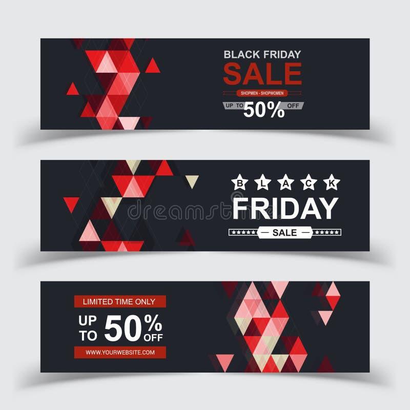 Vector de los carteles de la venta de Black Friday Bandera negra de la venta de viernes, ejemplo de las compras de la oferta espe ilustración del vector
