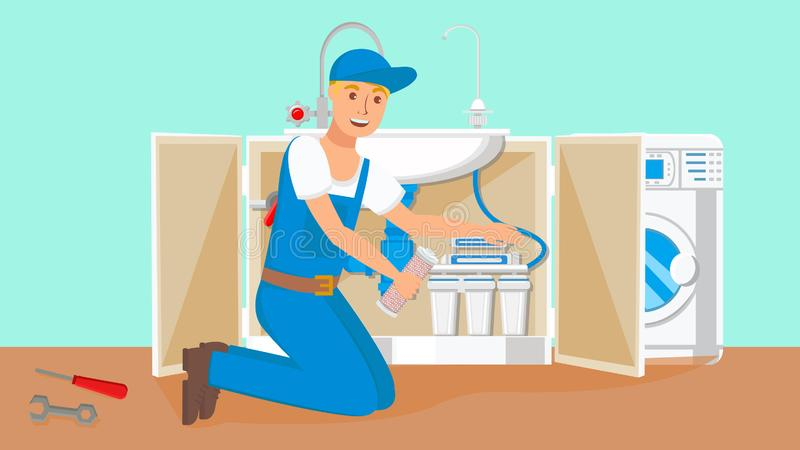 Vector de los cartuchos de Changing Water Filter del reparador stock de ilustración
