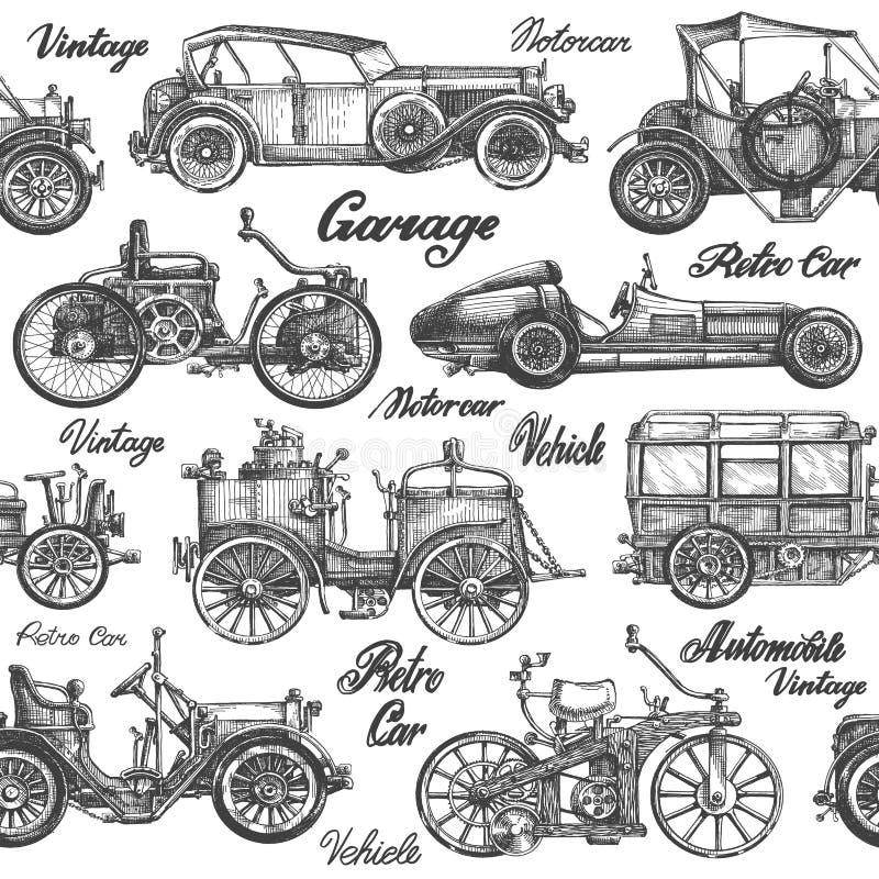 Vector de los coches Retro, vehículos del vintage en un blanco stock de ilustración