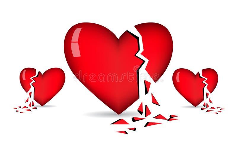 Vector de los corazones quebrados libre illustration