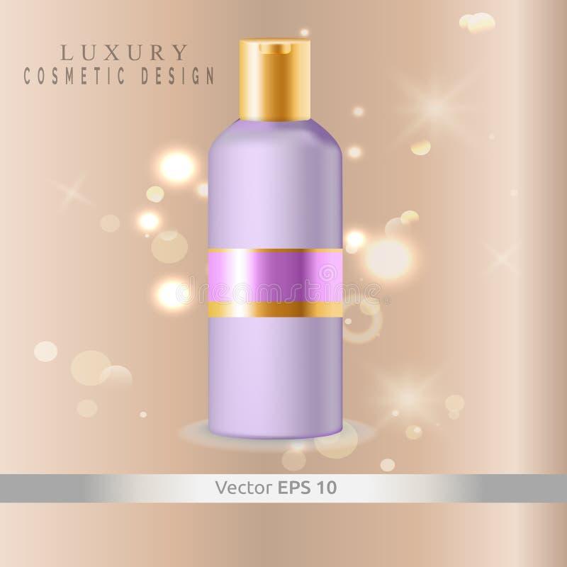 Vector de los cosméticos de la maqueta Botella plástica para la crema corporal o la crema batida de pelo, champú foto de archivo