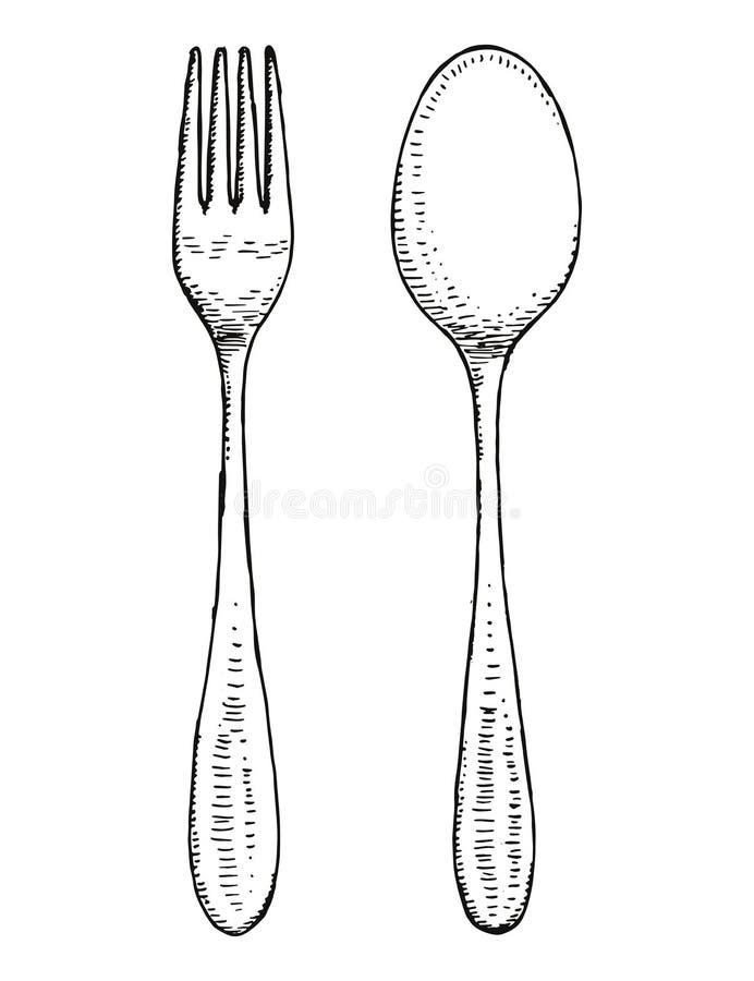 Vector de los cubiertos de la bifurcación y de la cuchara Gráfico de la mano ilustración del vector
