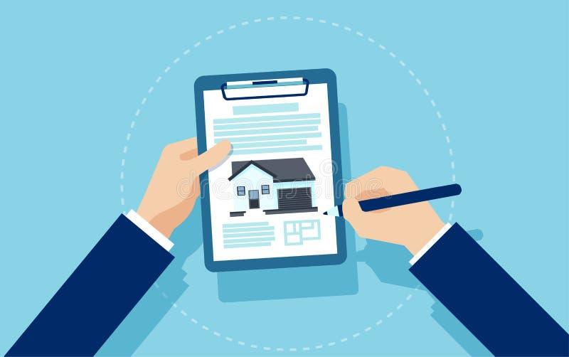 Vector de los documentos de firma de una hipoteca del hombre de negocios ilustración del vector