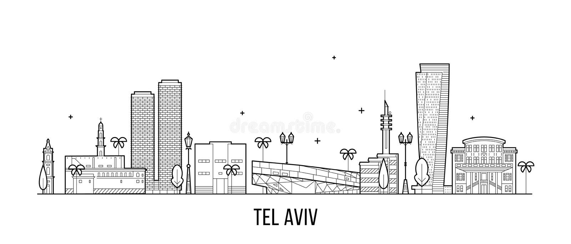 Vector de los edificios de Israel del horizonte de Tel Aviv linear ilustración del vector