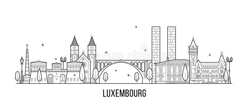 Vector de los edificios de la ciudad del horizonte de la ciudad de Luxemburgo stock de ilustración