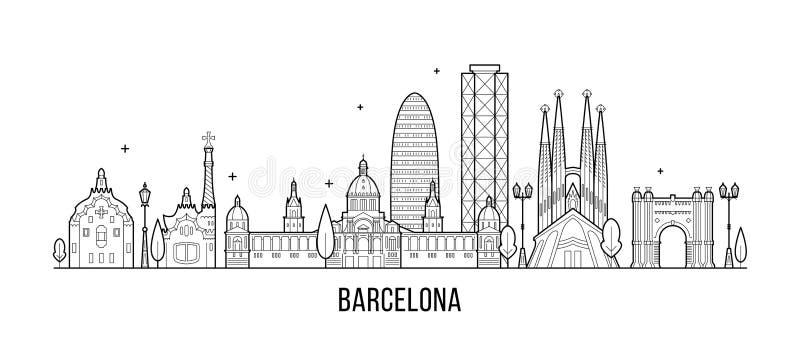 Vector de los edificios de la ciudad de España del horizonte de Barcelona ilustración del vector
