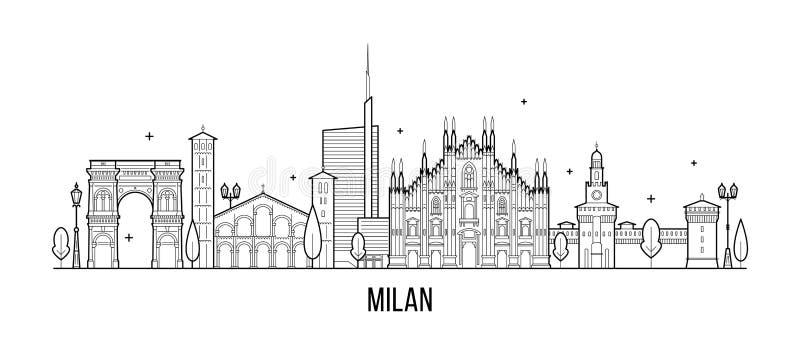 Vector de los edificios de la ciudad de Italia del horizonte de Milán ilustración del vector