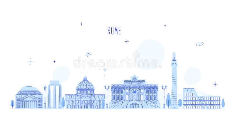 Vector de los edificios de la ciudad de Italia del horizonte de Roma ilustración del vector