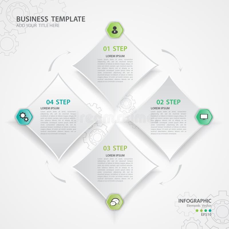 Vector de los elementos de Infographic para el negocio, diseño web, presentación, fondo del engranaje, icono cuadrado, plantilla, stock de ilustración