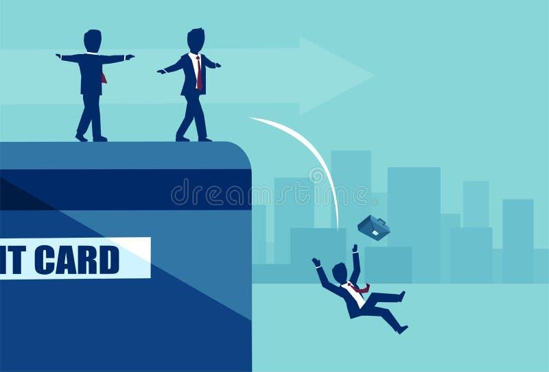 Vector de los empresarios que equilibran al borde de la tarjeta de crédito que cae en defecto libre illustration