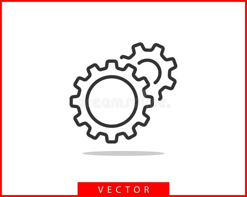 Vector de los engranajes y de los dientes del metal Dise?o plano del icono del engranaje Logotipo de las ruedas del mecanismo Pla ilustración del vector