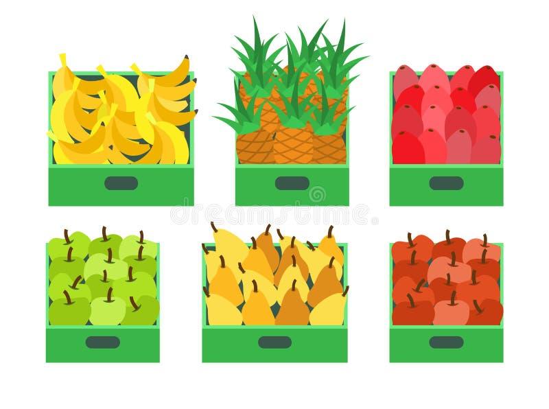 Vector de los envases de comida de la tienda de la fruta y verdura stock de ilustración