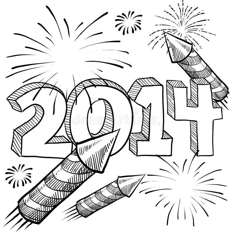 Vector de los fuegos artificiales de 2014 Años Nuevos libre illustration