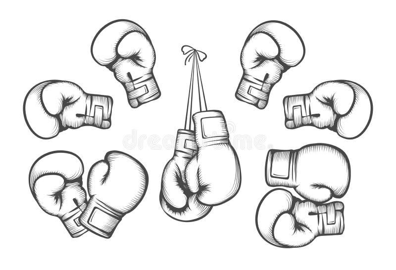 Vector de los guantes de boxeo stock de ilustración