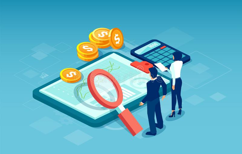 Vector de los hombres de negocios que investigan para las nuevas oportunidades de inversión rentable ilustración del vector