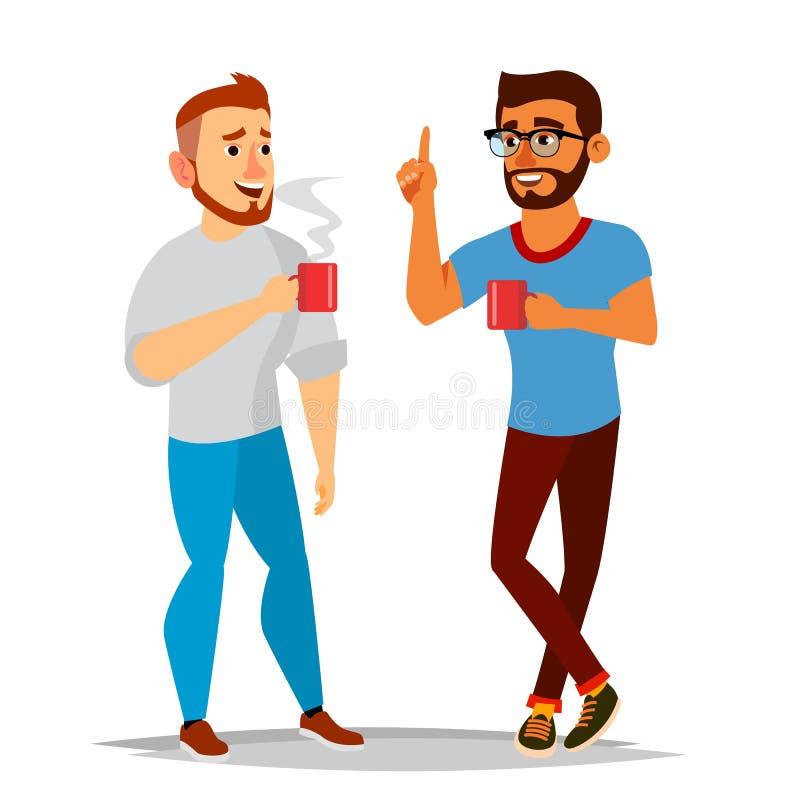 Vector de los hombres que habla Amigos de risa, colegas de oficina Varón de comunicación Encuentro Conversación, concepto del aná libre illustration
