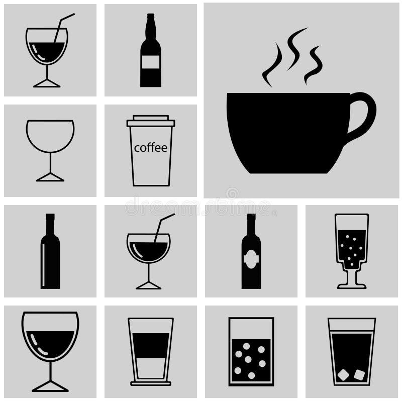 Vector de los iconos Bebida plana negra de los iconos stock de ilustración