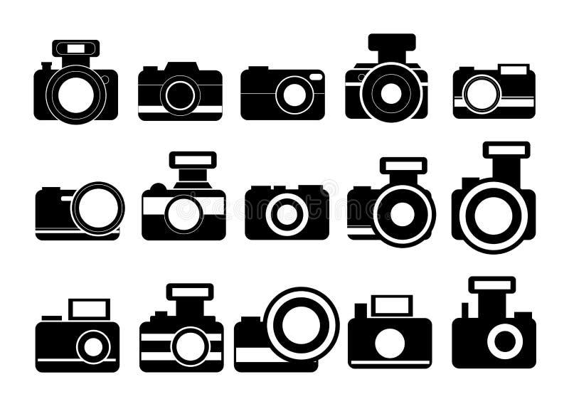 Vector de los iconos de la cámara de la fotografía stock de ilustración