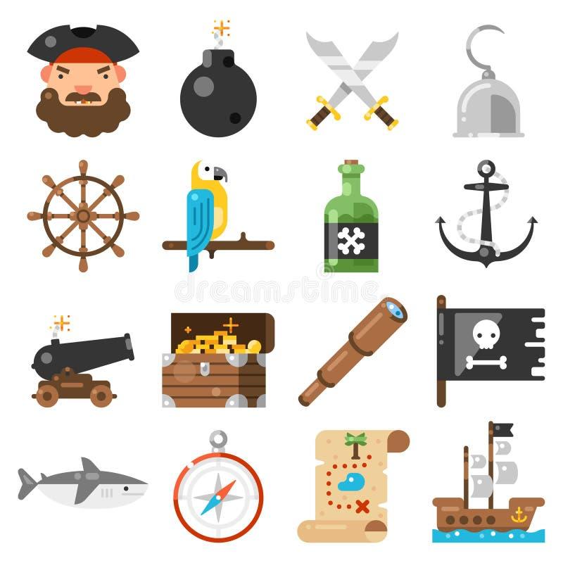 Vector de los iconos de los piratas fijado en el fondo blanco ilustración del vector