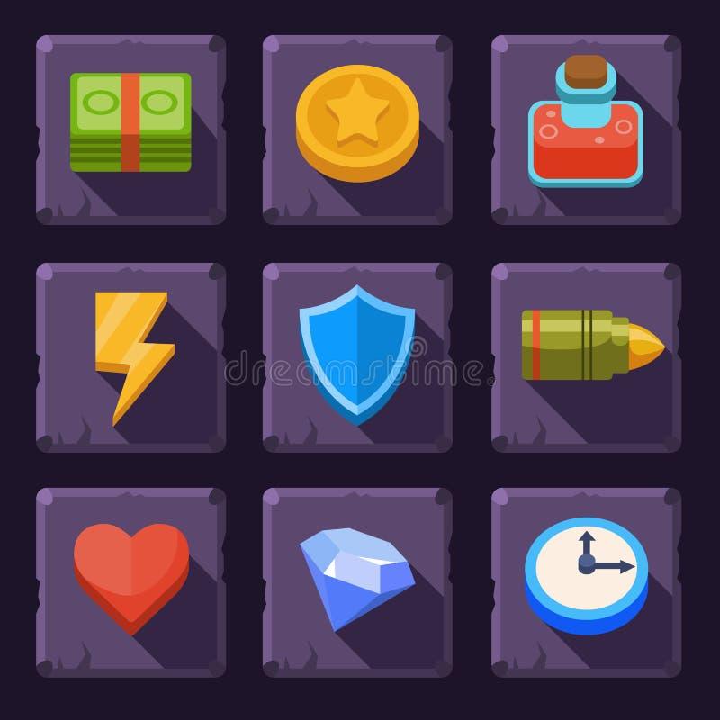 Vector de los iconos de los recursos del juego stock de ilustración