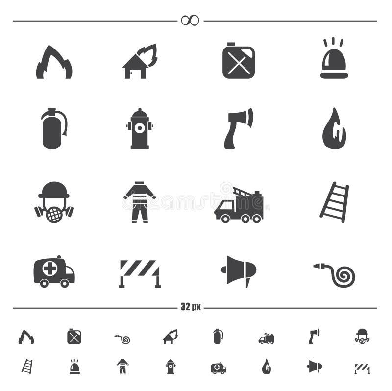 Vector de los iconos del bombero stock de ilustración