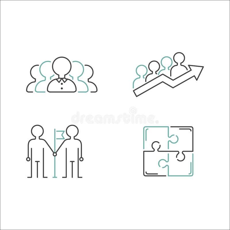 Vector de los iconos del esquema del trabajo en equipo del negocio libre illustration