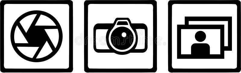 Vector de los iconos del fotógrafo stock de ilustración