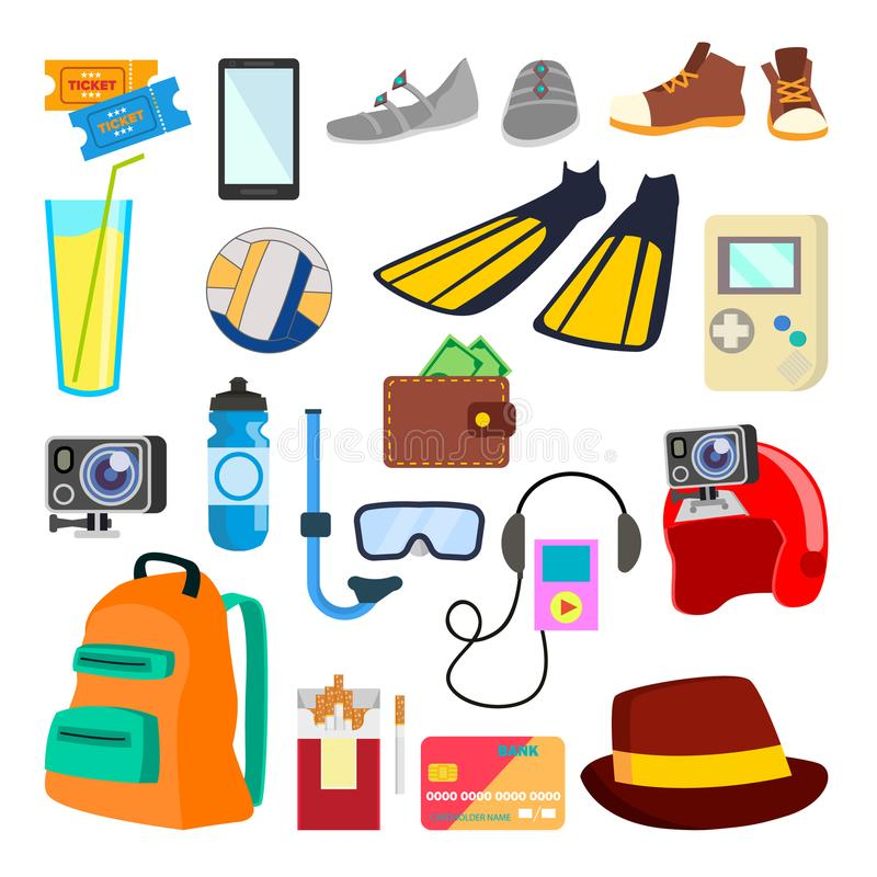 Vector de los iconos del viaje Adultos jovenes días de fiesta, vacaciones Artículos del turismo, objetos Ejemplo plano aislado de libre illustration