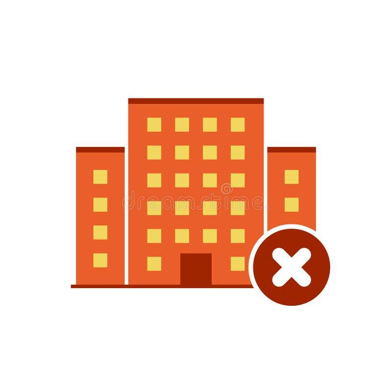 Vector de los iconos de los edificios con la muestra de la cancelación El icono y el cierre urbanos, cancelación del estado, quit ilustración del vector