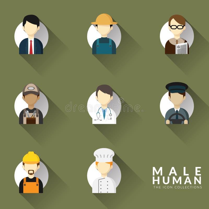 Vector de los iconos para diverso sistema de la colección del icono del empleo del hombre Iconos de las profesiones fijados Dise? ilustración del vector