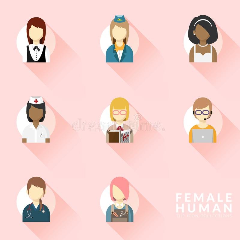 Vector de los iconos para diverso sistema de la colección del icono del empleo de la mujer Iconos de las profesiones fijados Dise libre illustration