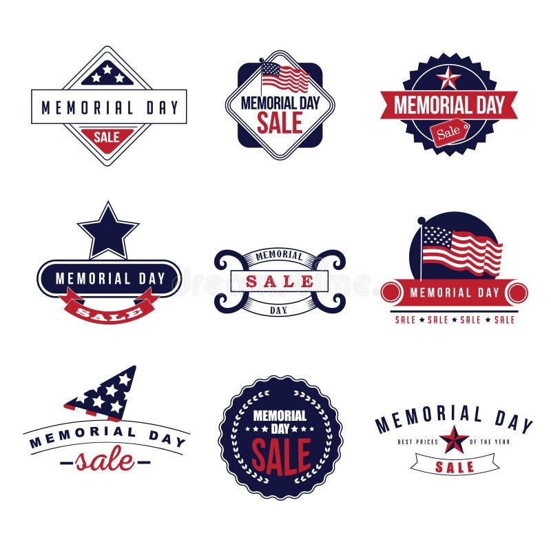 Vector de los iconos y de las insignias EPS 10 de la venta de Memorial Day stock de ilustración