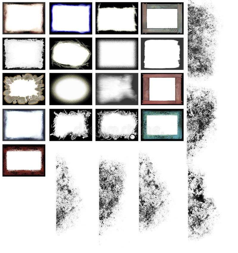 Vector de los marcos y de los bordes de Grunge ilustración del vector