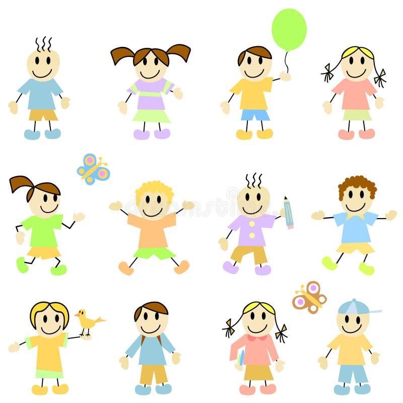 Vector de los niños de la historieta ilustración del vector