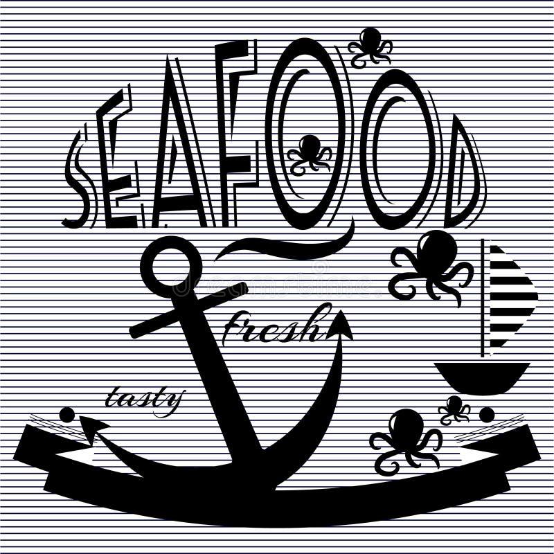 Vector de los pescados de comida del restaurante de los mariscos fotografía de archivo libre de regalías